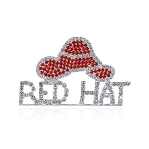 "All'ingrosso- Strass Red Hat Tema Gioielli ""Red Hat"" Parola Spilla Pins per Red Hat Society Ladies"