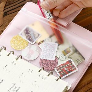 Gros-Transparent Sac de rangement en PVC pour le carnet de notes du voyageur Agenda journalier Zipper Bag Cartes de visite, pochette de notes, sac de réception
