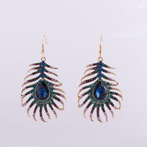2017 nuovi orecchini di goccia del progettista della lega di zinco di colore dell'oro di figura del peacock della piuma del pavone multicolore d'avanguardia nuovi trasporto libero