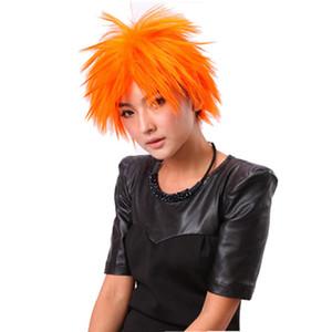 Cheap Peruca Cosplay perucas de cabelo sintético Curto Afro Laranja Bob Direto bang peruca por Mulheres resistente ao calor peruca sintética