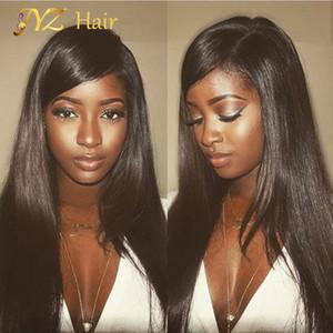 JYZ Pelucas de cabello humano delantero de encaje recto sedoso brasileño para mujer negra 130 densas sin cola pelucas llenas de encaje con pelo de bebé Cintura natural