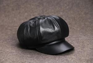 Donna Vera pelle Cappello ottagonale Pittore Cappello Cappellino in pelle di montone Moda nero