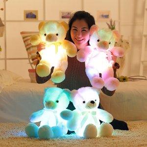 Toptan-50 cm Kawaii Işık Up LED Endüktif Teddy Bear Doldurulmuş Hayvanlar Peluş Oyuncak Çocuklar için Renkli Parlayan Teddy Bear Noel Hediyesi oyuncaklar