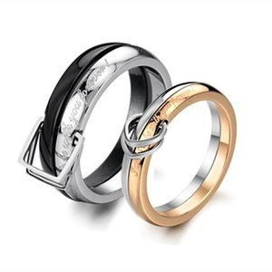 Personality Couple Ring 2016 New Design Stainless Steel Paved Rings for Women Men