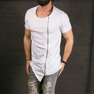 camisa Desfile de Moda Elegante longo T do New Men assimétrico Side Zipper Big Neck manga curta T-shirt masculino Hip Hop Tee