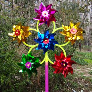 Sechs Rad Pailletten Windmühle, bunte Kunststoff Farbe, traditionelle kleine Windmühle Plaza, heiße Kinder Spielzeug Großhandel