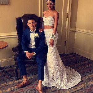 Encaje modesto dos piezas vestidos de fiesta de la envoltura 2017 simple blanco sin mangas de fiesta largos vestidos de noche baratos vestidos de novia bohemio