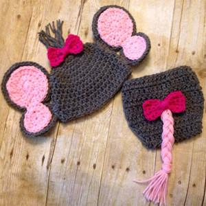 Novità Costume da elefante, cappello lavorato a maglia all'uncinetto lavorato a maglia per bambina con fiocco rosa, copertura per pannolini con trecce, foto per neonato