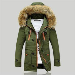 En gros-2015 New Winter Mens Parka Vêtements Épais Hommes Veste Manteau Avec Fourrure Capuche Haute Qualité Vestes Hommes plus la taille Vestidos vente chaude