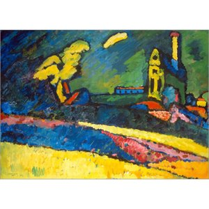 Hand Painted abstract paintings Wassily Kandinsky urnau, Landschaft mit Kirche I. art oil canvas High quality home decor