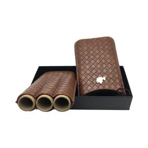 Новый портативный кожаный Cedar Wood Подкладка Коричневый цвет сигары Путешествия Дело Хьюмидор имеет 3 графа с увлажнителем