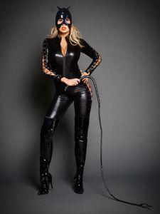 Sexy Catwoman Cosplay Catsuit Mujeres Lace Up Cremallera mono Cat Mistress Juego de rol Disfraz de Halloween con máscara