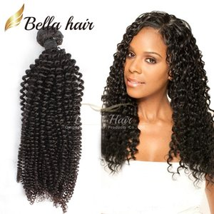 "Peruvian Hair Weaves Kinky Curly Virgin Human Hair Weft Extensions Double Weft Natural Color 8""-34"" 3pcs lot Hair Bundles Bellahair"