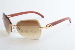 La nueva manera de madera natural de alta calidad, lente biselada, gafas de sol 8300818 tamaño: 60-18-135 mm