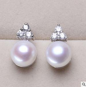 Orecchini in argento 925 orecchini in argento naturale orecchini perla d'acqua dolce genuina leggera sfumata 8-9mm orecchini zirconi intarsiati, autentico 100% jewerly