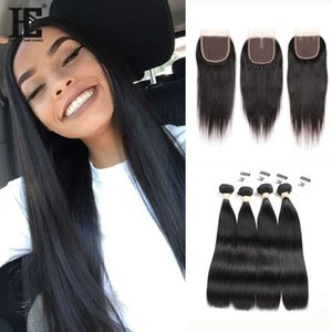 HC Hair Indian Virgin Hair with closure Extensions 4 Bundles Indian Straight With 4x4 Lace Closure Unprocessed Remy Human Hair Weave