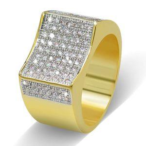 Hiphop Copper Cubic 지르코니아 링 남자의 아이스 핑 마이크로 CZ 링 골드 컬러 패션 쥬얼리 High Grade Engagement Ring