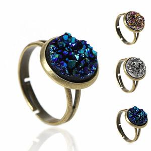 Vente en gros- DoreenBeads femmes cuivre réglable druzy anneaux ronde Antique Bronze Royal bleu argent-gris AB couleur 16,7 mm (taille US 6,25), 2 PCs