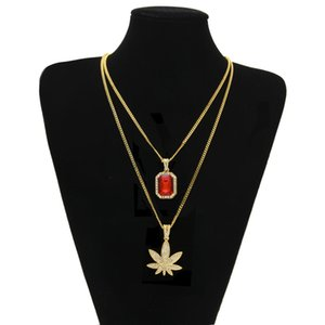 Micro Square Stones Maple Leaf Pendant Chain Necklace Set for Men High Quality Zinc Alloy Iced Out Hip Hop Jewelry New Arrival
