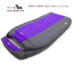 Al por mayor- Alta calidad doble persona 3500g / 4000g pato relleno de saco de dormir cómodo para acampar