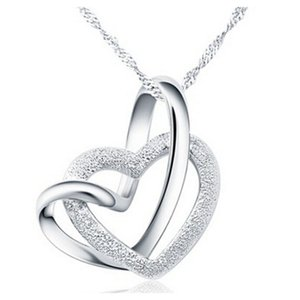 Wedding Jewelry Heart Romantic Platinum Plated Pendants & Necklaces 925 Sterling Silver necklace Wholesale Jewelry Matte Heart Necklace