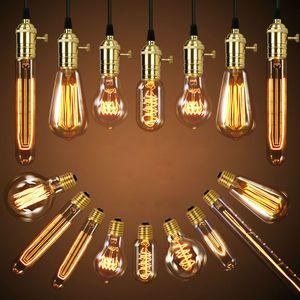 40W Retro lampe Edison ampoule ST64 G80 G95 Vintage Socket bricolage corde pendentif E27 ampoule à incandescence 220 V 110V Lumières de Noël Lampe Filament Lampada