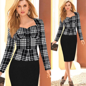 2017 Frauen-Winter-elegante lange Hülsen-Polka-Dot Cotton Stretch Peplum Büro zur Arbeit trägt knielangen Party Pencil Mantel Kleider OXL004