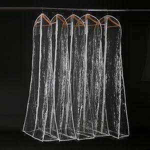 Bolsa de polvo de PVC transparente gruesa para vestido de novia Bolsas de bata de noche 180 * 70 cm cubierta impermeable para prendas de vestir Almacenamiento de viaje Cubiertas de polvo