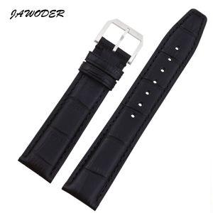 JAWODER Watchband 20 21 22mm Noir / Brun Grain De Bambou En Cuir Véritable Montre Bracelet En Acier Inoxydable Argent Pin Boucle pour les Pilotes Du Portugal