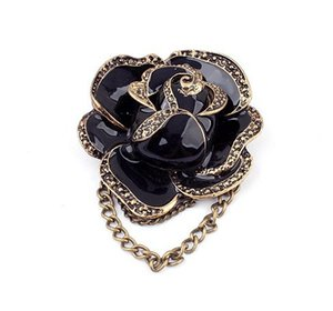 Wholesale- 2015 Free Shipping New SBY0307 fashion Elegent Black Rose Flower Brooches Pins For Women Party