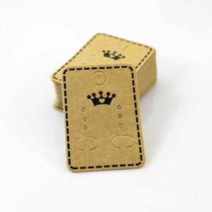 100 pçs / lote Atacado Moda Jóias Ear Studs Embalagem Display Tag Grosso Cartão de Papel Kraft TagEags 4.5 * 3.2 cm Cartão de Exibição de Jóias