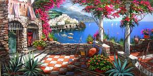 Enmarcado FERDINANDO SAPIO ILUSTRACIÓN PAISAJE PAISAJE MAR TERRAZA EN AMALFI Pintado a mano / HD Print DECOR Art On Canvas, Multi tamaños YDL016