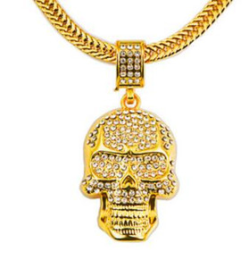 قلادة الهيب هوب الجمجمة الماس الذهب 18 ك