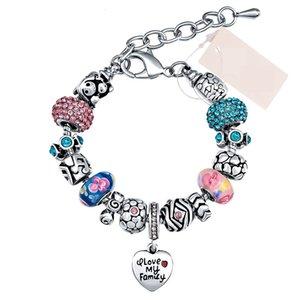 Mode mignonne rose charme bracelet pendentif coeur bricolage cristal / perles de verre charme bracelet bracelet pour les femmes