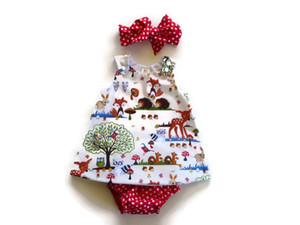Baby 3PCS Sets Mädchen Sommer Fox Print Kleid + kurze Hosen + Stirnband Outfit Infant Cartoon-Tier süß Kleidung Sets