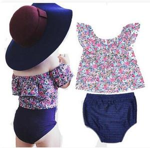 Ragazzi vestiti Off spalla T-Shirt + Pantaloncini in PP Baby Girl in due pezzi Suit Estate dolce floreale stampato Ruffled Collar Top di alta qualità