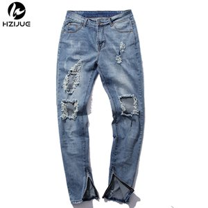 HZIJUE al por mayor pantalones de hip hop Kanye hombre mono frazzle moda de luz azul flaco Jeans gastados hombres arrancados