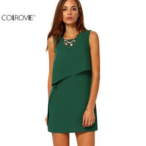 Großhandels- COLROVIE Party Kleider Frauen Kleidung 2017 New Style Zurück Reißverschluss Rundhals Sleeveless Rüschen Chiffon Short Dress