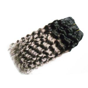 T1B / Gris deux tons ombre cheveux brésiliens vague profonde 100g cheveux gris armure faisceaux 1pcs cheveux brésiliens armure faisceaux
