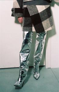 2017 neueste Kim Kardashian Stilettos Hohe Stiefel Frauen Silber Gold Spiegel Leder Metallic Overknee Frauen Stiefel SexyThigh Hohe Booties