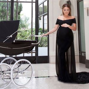 Sexy Fitted Maternity Evening Dresses Black Spandex Chiffon Off the Shoulder Long Formal Party Gowns Made to Order with Train