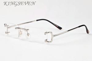 2020 populäre Art und Weise Sport-Sonnenbrille randlos klare Gläser Mens Brille Gold-Silber-Metallrahmen Büffelhornbrille mit Box und Fall