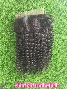 Top-Qualität unverarbeitete brasilianische peruanische malaysischen indischen menschlichen verworrenes lockiges Haar 4x4 Top Spitze Closue 8-20 Zoll
