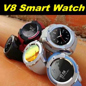 Nouvelle arrivée V8 SmartWatch Bluetooth montres Android avec 0.3M caméra MTK6261D DZ09 GT08 Smartwatches pour téléphone Fndroid avec paquet de vente au détail