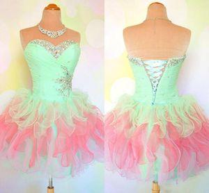 Sweetheart Rüschen Prom Kleider Mint Pink Multi-Color Little Mini Ballkleid Korsett Homecoming 2019 Real Photos Party Cocktail Perlen Pailletten