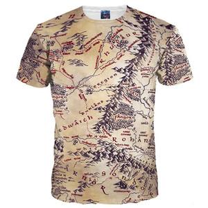 T-shirts 3D Vente chaude Hommes / Femmes T-shirt 3d Impression rétro La carte du monde de la terre du monde T-shirts Tops d'été