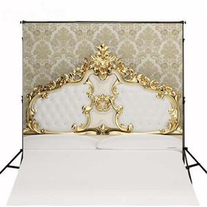 5x7ft cabecero de cama con copete dorado Fotografía de la cama telones de fondo Papel pintado de vinilo Damasco niños Recién nacido Baby Shower Studio Props