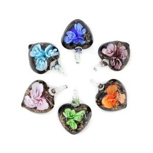 Colgantes de cristal de murano de estilo nuevo Colgantes de cristal de murano con incrustaciones de flor hermosa y multicolor 12pcs / pack MC0108