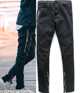 Diseñador para hombre del motorista de la motocicleta Negro elástico Ripped Denim Jeans Hombres Vintage Washed apenada para los hombres