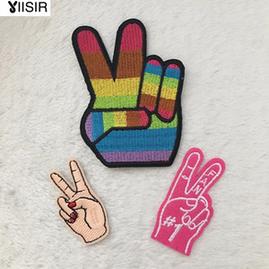Fabric V Style Peace Fingers Win Heat Transfer Embroidery Clothes Patches,Sew On,Iron On Patch,Appliques For Clothing,Backpack